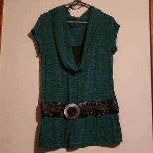 Teal and black shirt with half belt attached